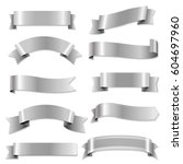 big silver ribbons set with... | Shutterstock .eps vector #604697960