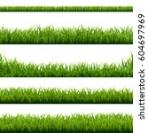 big set green grass borders... | Shutterstock .eps vector #604697969