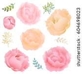 flowers peony with gradient... | Shutterstock .eps vector #604698023