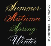 set of hand drawn lettering ... | Shutterstock .eps vector #604703420