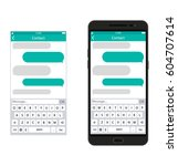 smartphone with messaging sms... | Shutterstock . vector #604707614