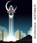 space shuttle launch from... | Shutterstock .eps vector #604708619