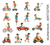 kids transport icons set with... | Shutterstock .eps vector #604710704