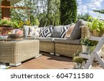 modern garden patio with... | Shutterstock . vector #604711580
