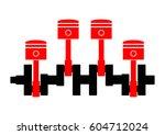car pistons on white background  | Shutterstock .eps vector #604712024