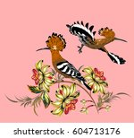 a couple of hoopoes on... | Shutterstock .eps vector #604713176