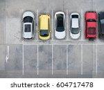 empty parking lots  aerial view. | Shutterstock . vector #604717478