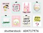 set of spring and easter gift... | Shutterstock .eps vector #604717976