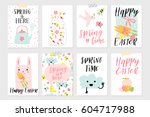 set of spring and easter gift... | Shutterstock .eps vector #604717988