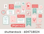 collection of stylish pink... | Shutterstock .eps vector #604718024