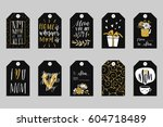 collection of ten gold texture... | Shutterstock .eps vector #604718489