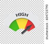 high level risk gauge vector... | Shutterstock .eps vector #604723790