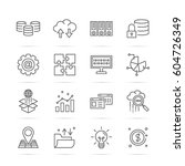 big data vector line icons ... | Shutterstock .eps vector #604726349