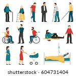 set of disabled people... | Shutterstock .eps vector #604731404