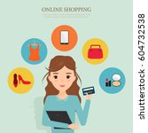 woman character shopping online ... | Shutterstock .eps vector #604732538