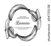 decorative frame with banana.... | Shutterstock .eps vector #604733138