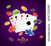poker chips and cards... | Shutterstock .eps vector #604733540