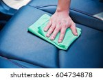 hand cleaning the car interior...   Shutterstock . vector #604734878