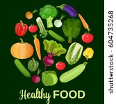 healthy vegetables and... | Shutterstock .eps vector #604735268