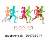 people running marathon logo... | Shutterstock .eps vector #604735349