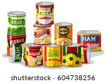 different types of canned food... | Shutterstock .eps vector #604738256