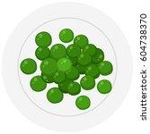 fresh greenpeas on plate... | Shutterstock .eps vector #604738370
