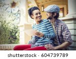 a couple  a man and woman... | Shutterstock . vector #604739789