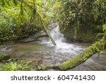 waterfall in a swift stream...   Shutterstock . vector #604741430