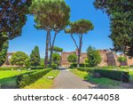 the ruins of ancient rome.... | Shutterstock . vector #604744058