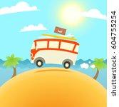 summer surfing illustration.... | Shutterstock . vector #604755254