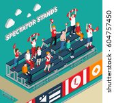 spectator stands with excited... | Shutterstock .eps vector #604757450