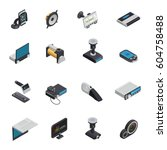 car electronics isometric icons ... | Shutterstock .eps vector #604758488