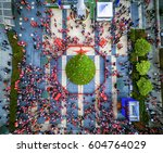 santacon parade in 2015  aerial ... | Shutterstock . vector #604764029