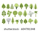 a set of flat silhouettes of... | Shutterstock .eps vector #604781348