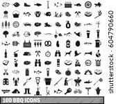 100 Bbq Icons Set In Simple...