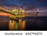 offshore oil and rig platform... | Shutterstock . vector #604796870