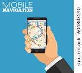 mobile gps navigation concept.... | Shutterstock .eps vector #604808540