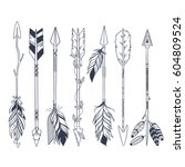 arrow set in native american... | Shutterstock .eps vector #604809524