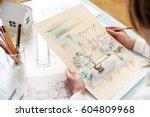 interior designer working on... | Shutterstock . vector #604809968