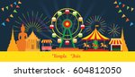 thai temple fair  night scene ... | Shutterstock .eps vector #604812050