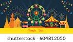 thai temple fair  night scene ... | Shutterstock .eps vector #604812050
