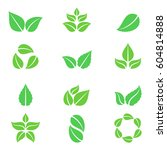 green leaves icons | Shutterstock .eps vector #604814888