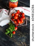 organic tomatoes juice in a... | Shutterstock . vector #604816286