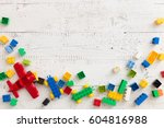 top view on colorful toy bricks ... | Shutterstock . vector #604816988