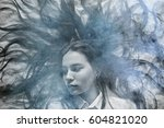 young adult girl dreaming | Shutterstock . vector #604821020