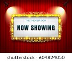 theater sign gold on curtain | Shutterstock .eps vector #604824050
