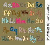 hand drawn alphabet. brush... | Shutterstock .eps vector #604826060