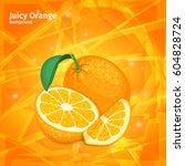 vector orange fruit on juicy... | Shutterstock .eps vector #604828724