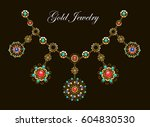 ethnic gold necklace with... | Shutterstock .eps vector #604830530