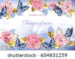 Stock vector pink roses with blue butterflies with golden leaves on light blue background 604831259